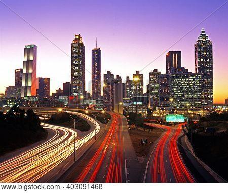 Atlanta, Usa - October 17, 1995 - City Skyline At Dusk, Atlanta, Georgia, Usa, October 17, 1995