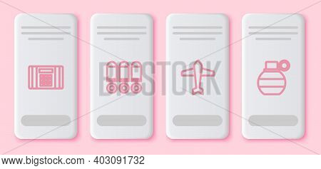 Set Line Dynamite Bomb, Bullet, Jet Fighter And Hand Grenade. White Rectangle Button. Vector