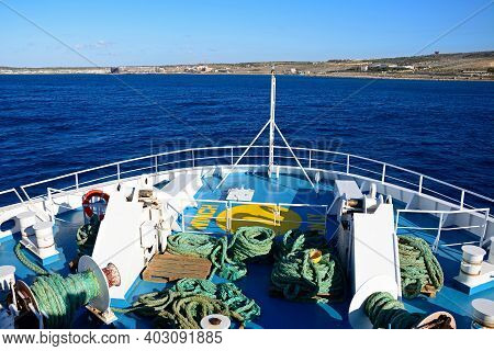 Gozo, Malta - April 3, 2017 - Bow Of The Gozo Channel Line Ferry With Views Towards The Maltese Coas