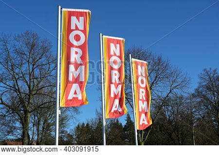 Ratzeburg, Germany, January 12, 2021: Advertising Flags With The Logo Of The Supermarket Norma Again