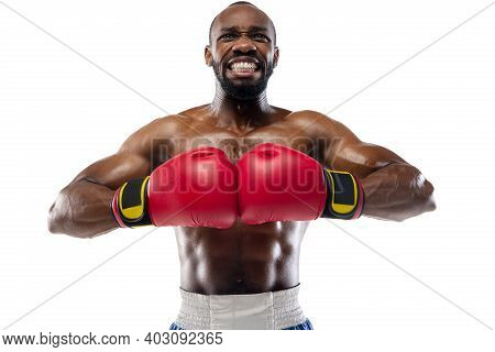 High Tension. Funny, Bright Emotions Of Professional African-american Boxer Isolated On White Studio