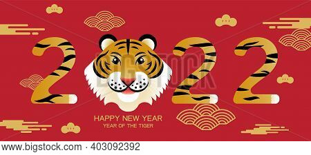 Happy New Year, Chinese New Year, 2022, Year Of The Tiger, Cartoon Character, Royal Tiger,  Flat Des