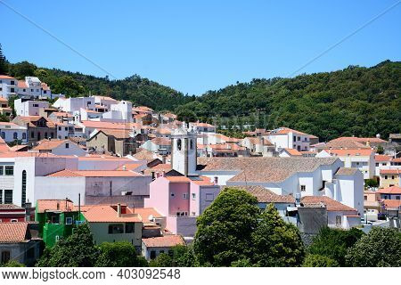Monchique, Portugal - June 7, 2017 - Elevated View Of The Village With The Church To The Centre, Mon