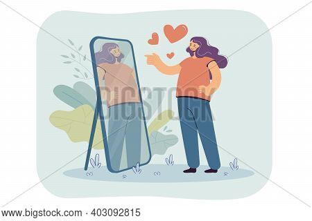 Happy Narcissist Girl Looking At Herself At Mirror, Admiring Her Beautiful Reflection. Vector Illust