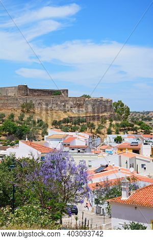 Castro Marim, Portugal - June 11, 2017 - Elevated View Of The Castle And Town Buildings With A Prett