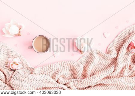 Valentine's Day Background. Pink Flowers, Plaid, Cup Of Coffee On Pink Background. Valentines Day Co