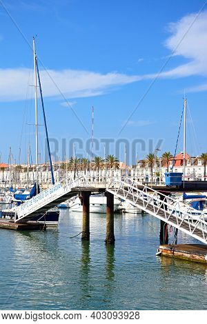 Vila Real De Santo Antonio, Portugal - June 11, 2017 - Yachts And Boats Moored In The Marina With A