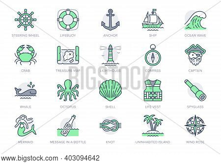 Marine Line Icons. Vector Illustration Included Icon As Anchor, Sea Wave, Message In A Bottle, Rope,
