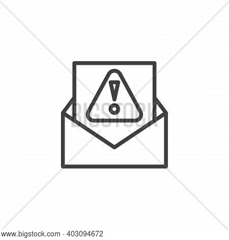Spam Email Line Icon. Linear Style Sign For Mobile Concept And Web Design. Envelope With Exclamation
