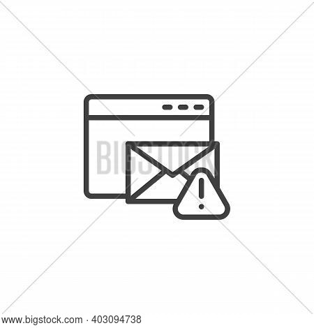 Email Phishing Alert Line Icon. Linear Style Sign For Mobile Concept And Web Design. Website Email A