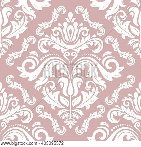 Orient Classic Pattern. Seamless Abstract Background With Vintage Elements. Orient Purple And White