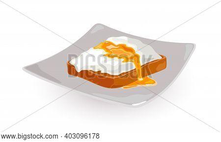 Slice Of Wholegrain Bread With Boiled Egg. Vector Fluid Egg Yolk Dripping On Plate. Morning Breakfas