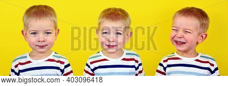 Baby Emotions On A Yellow Background Collage. Collage Of Studio Portraits Of A Happy Little Boy. Dif