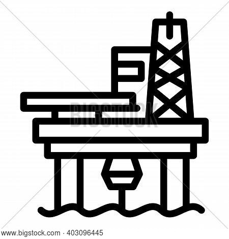 Sea Drilling Rig Icon. Outline Sea Drilling Rig Vector Icon For Web Design Isolated On White Backgro