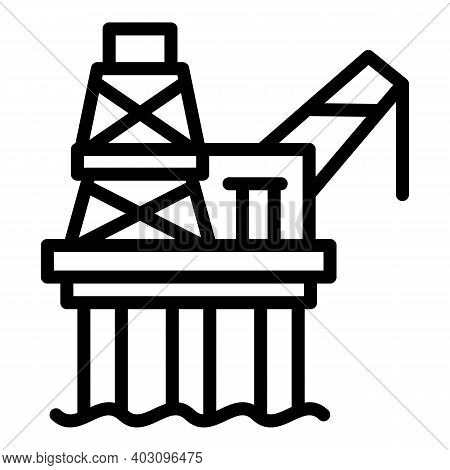 Industry Sea Drilling Rig Icon. Outline Industry Sea Drilling Rig Vector Icon For Web Design Isolate
