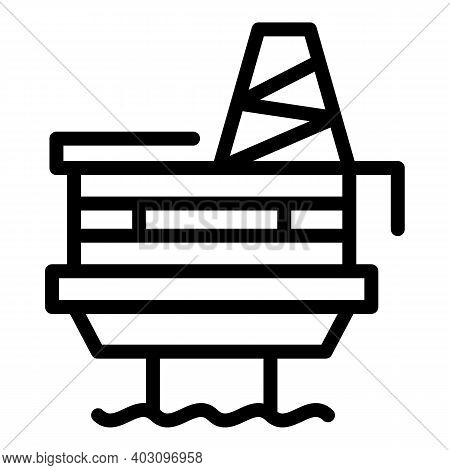Station Sea Drilling Rig Icon. Outline Station Sea Drilling Rig Vector Icon For Web Design Isolated