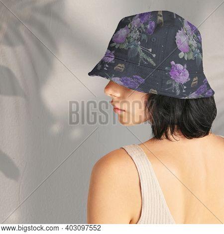 Vintage purple roses bucket hat apparel mockup