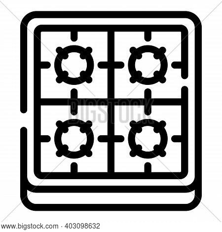Burning Gas Stove Icon. Outline Burning Gas Stove Vector Icon For Web Design Isolated On White Backg