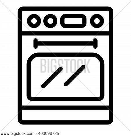 Cooking Gas Stove Icon. Outline Cooking Gas Stove Vector Icon For Web Design Isolated On White Backg