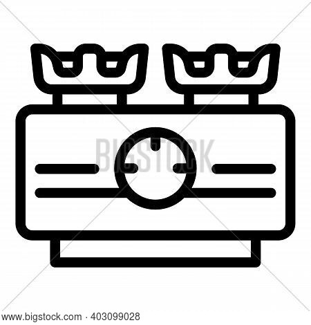Flame Gas Stove Icon. Outline Flame Gas Stove Vector Icon For Web Design Isolated On White Backgroun