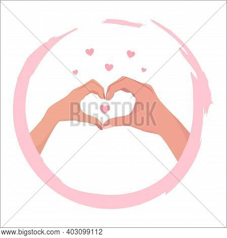 Two Hands In Heart Shape. Female And Male Hands Show A Gesture Of Love, Romance And Friendship. Fema
