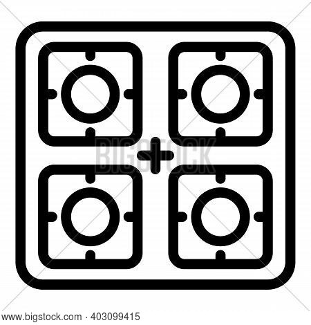 Power Gas Stove Icon. Outline Power Gas Stove Vector Icon For Web Design Isolated On White Backgroun