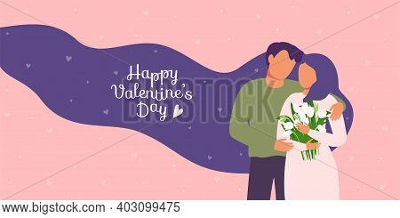 Couple In Love, Man Hugs Woman, White Flowers In Hands, Long Hair. Valentines Day Festive Decoration
