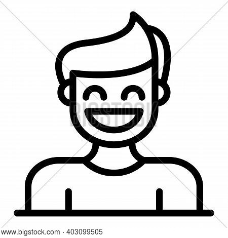 Smiling Boy Icon. Outline Smiling Boy Vector Icon For Web Design Isolated On White Background