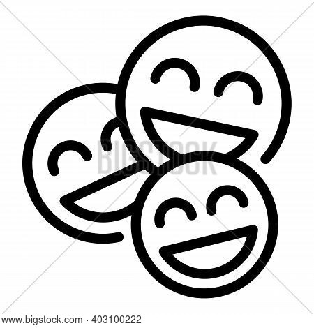 Group Laugh Emoji Icon. Outline Group Laugh Emoji Vector Icon For Web Design Isolated On White Backg