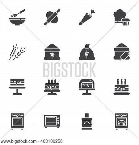 Bakery Related Vector Icons Set, Bakery Shop Modern Solid Symbol Collection, Filled Style Pictogram