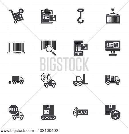 Delivery Transportation Vector Icons Set, Logistic Shipping Modern Solid Symbol Collection, Filled S