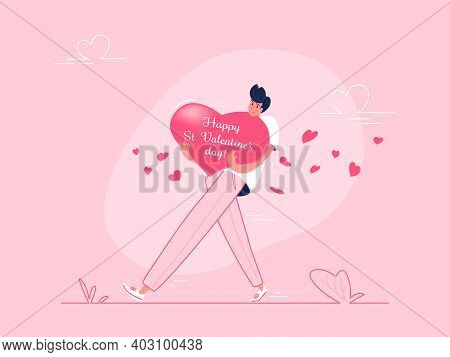 Young Man Carrying Heavy Heart Symbol As Valentines Greeting Card. Flat Modern Vector Illustration O