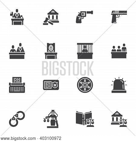 Law And Judgement Vector Icons Set, Modern Solid Symbol Collection, Filled Style Pictogram Pack. Sig