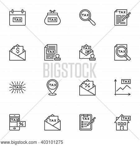 Taxes Line Icons Set, Outline Vector Symbol Collection, Linear Style Pictogram Pack. Signs, Logo Ill