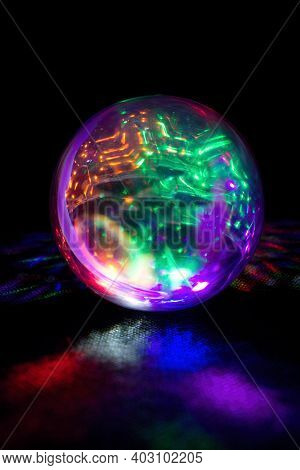Oracle  Prophecy Glass Ball In Rainbow Light.prophetic Glowing Sphere In Colorful Lights. Discover T