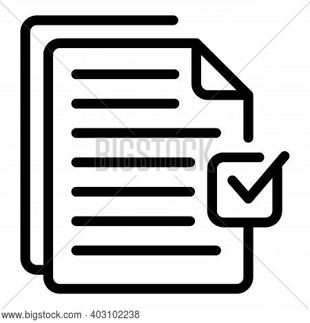 Done List Icon. Outline Done List Vector Icon For Web Design Isolated On White Background