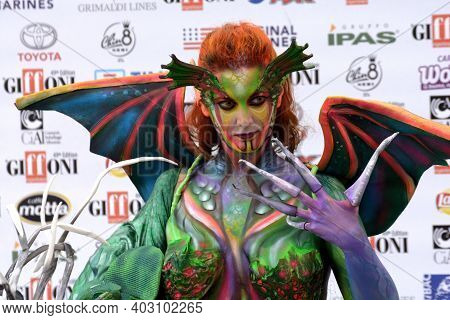 Giffoni Valle Piana, Sa, Italy - July 19, 2019 : Weronique Art : Body Painting At Giffoni Film Festi