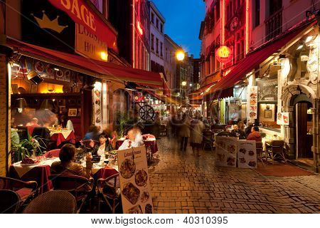 Small Cafe On The Old Streets In Brussels