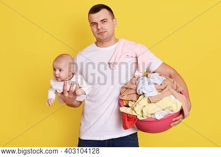 Single Father Overwhelmed By Taking Care Of Everything Alone, Take Care Of New Born Baby And Doing L