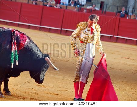 Sevilla -may 20: Novilladas In Plaza De Toros De Sevilla. Novillero: Emilio Huertas. May 20, 2012 In