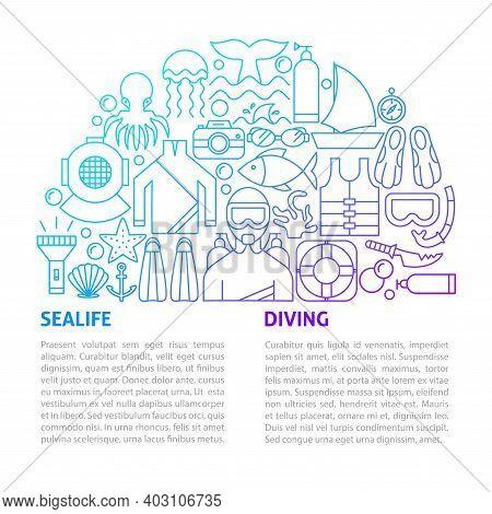 Sealife Diving Line Template. Vector Illustration Of Outline Design.