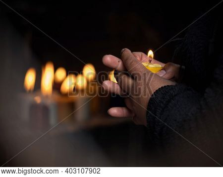 Woman Holding Burning Candle In Her Hands Memory Grief Religion Faith Belief In Las Lajas Sanctuary