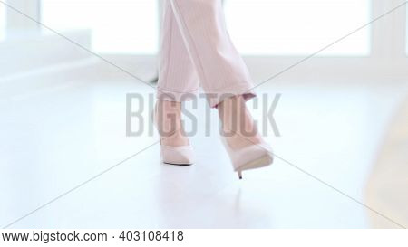 Fashionable Woman Wearing High Heel Shoes. Fashionable Woman In High-heeled Shoes. Soft Focus Woman
