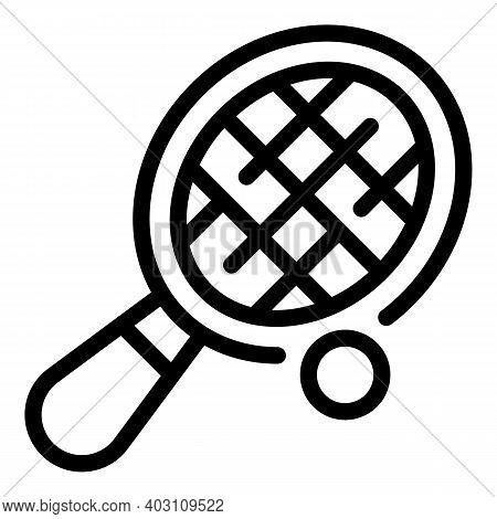 Tennis Racket Icon. Outline Tennis Racket Vector Icon For Web Design Isolated On White Background