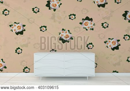 Flower Roses Wall With White Commode Dresser, In Retro Modern Interior Background, Living Room, 3d R