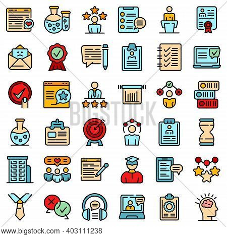 Experience Icons Set. Outline Set Of Experience Vector Icons Thin Line Color Flat On White