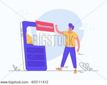 Newsletter Subcription Online On Mobile App. Flat Vector Illustration Of Smiling Man Approving A Big