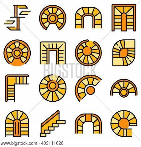 Spiral Staircase Icons Set. Outline Set Of Spiral Staircase Vector Icons Thin Line Color Flat On Whi