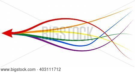 Arrow Formed By Multiple Merging Lgbt Pride Colourful Lines White Background. Partnership, Merger, A