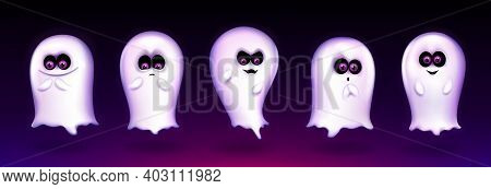 Cute Ghost, Funny Halloween Creature Express Different Emotions, Spooky Spirit Emoji Smiling, Yellin